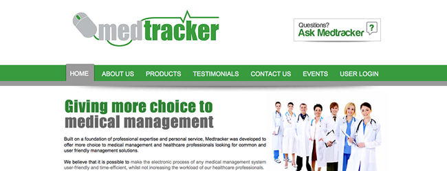 Med Tracker Website Screenshot
